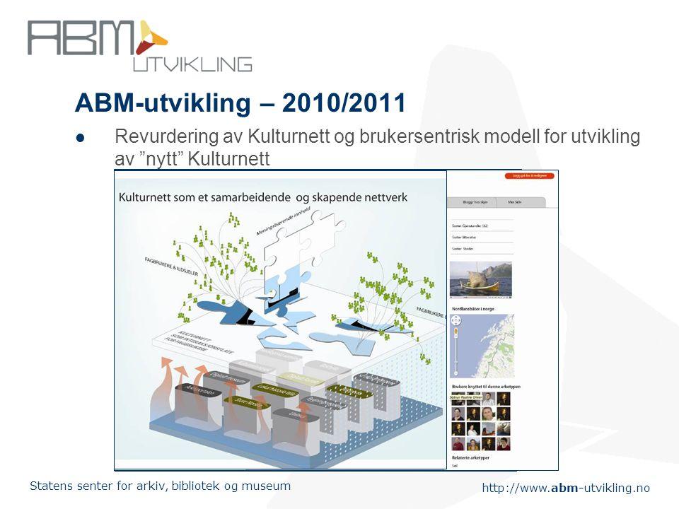 http://www.abm-utvikling.no Statens senter for arkiv, bibliotek og museum ABM-utvikling – 2010/2011  Revurdering av Kulturnett og brukersentrisk modell for utvikling av nytt Kulturnett