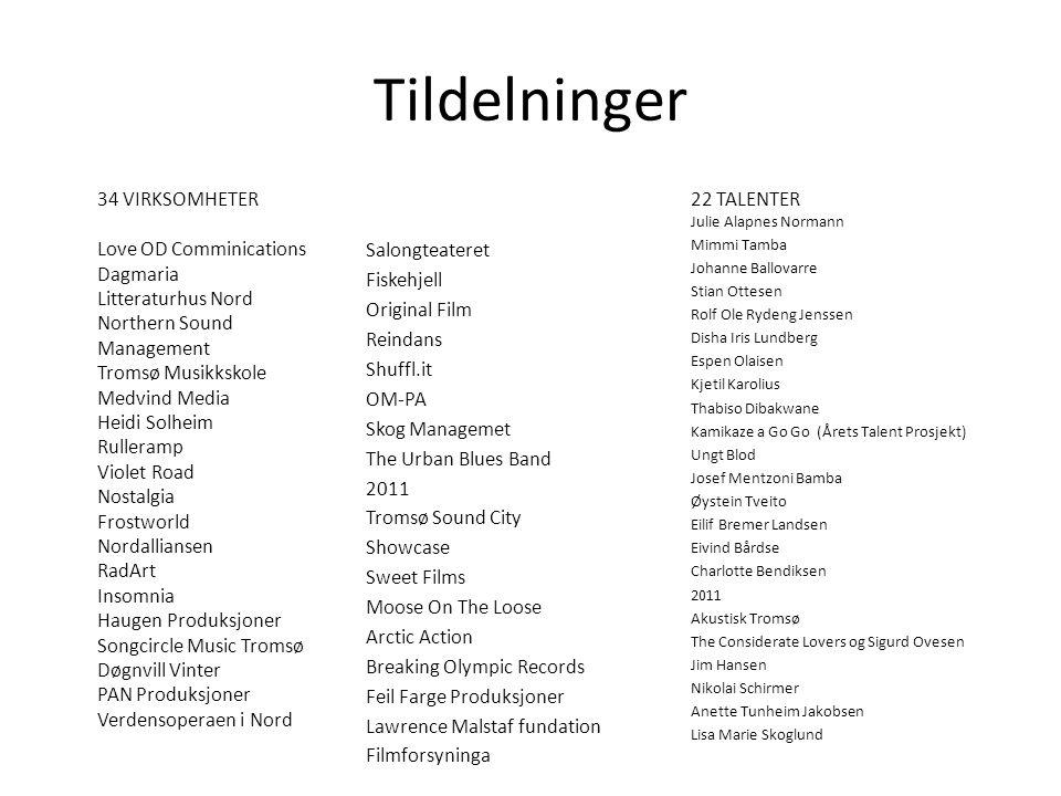 Tildelninger 34 VIRKSOMHETER Love OD Comminications Dagmaria Litteraturhus Nord Northern Sound Management Tromsø Musikkskole Medvind Media Heidi Solhe