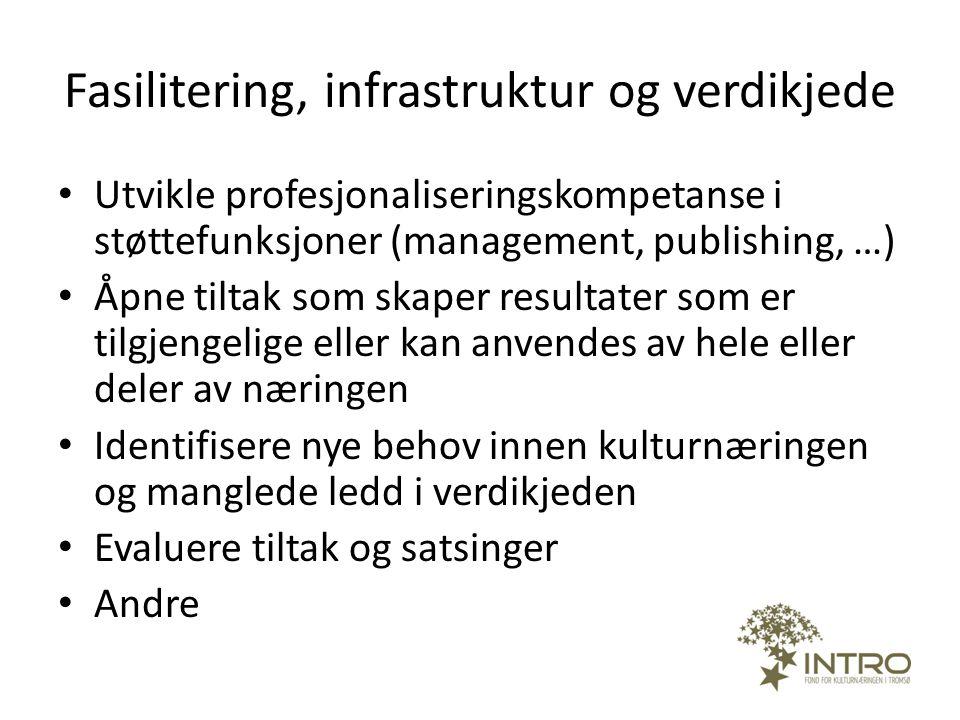Fasilitering, infrastruktur og verdikjede • Utvikle profesjonaliseringskompetanse i støttefunksjoner (management, publishing, …) • Åpne tiltak som ska