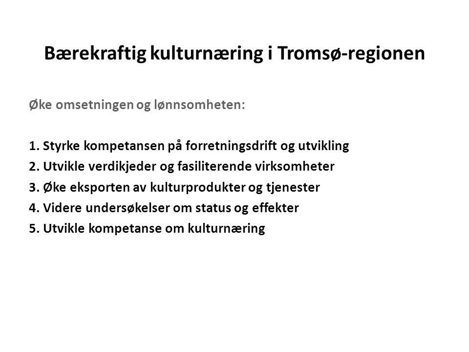 Bærekraftig kulturnæring i Tromsø-regionen Øke omsetningen og lønnsomheten: 1. Styrke kompetansen på forretningsdrift og utvikling 2. Utvikle verdikje