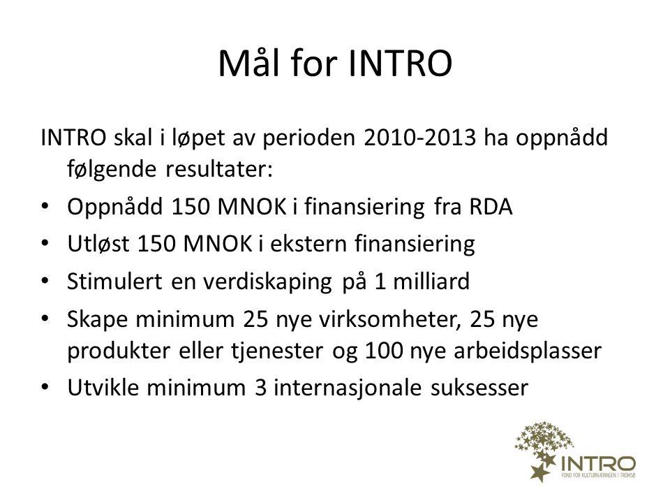 Mål for INTRO INTRO skal i løpet av perioden 2010-2013 ha oppnådd følgende resultater: • Oppnådd 150 MNOK i finansiering fra RDA • Utløst 150 MNOK i e