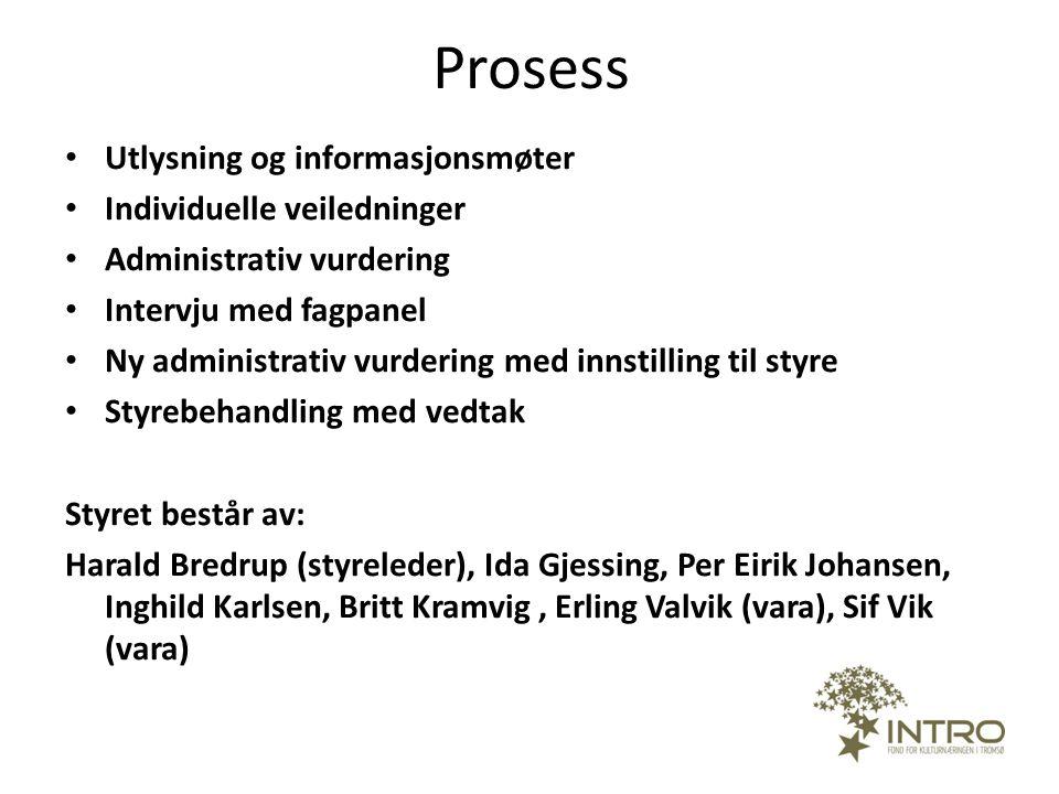 Prosess • Utlysning og informasjonsmøter • Individuelle veiledninger • Administrativ vurdering • Intervju med fagpanel • Ny administrativ vurdering me