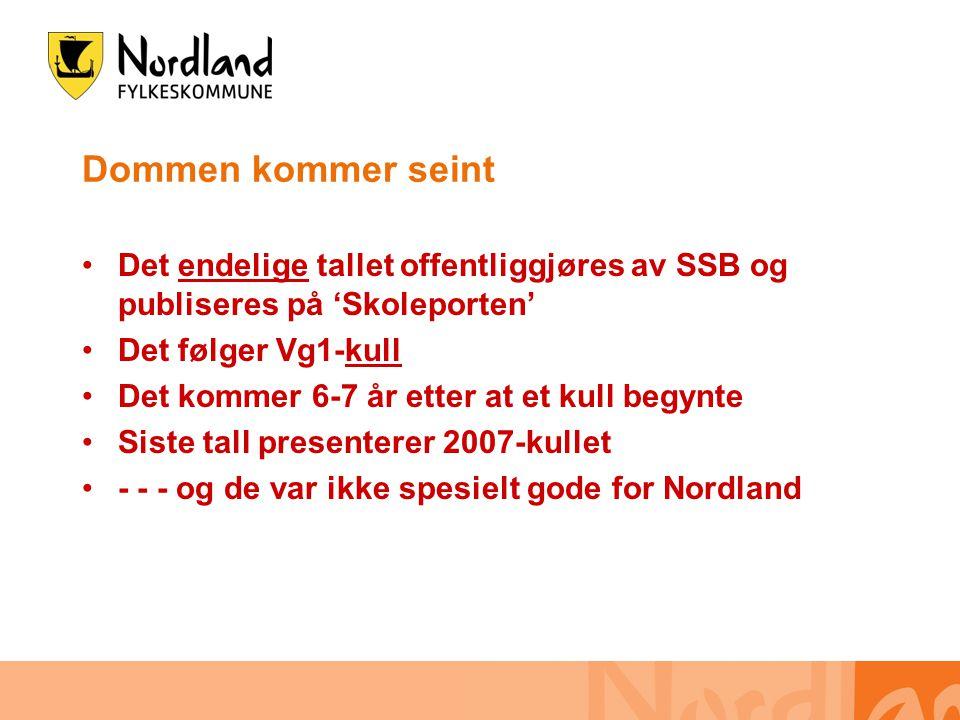 Dommen kommer seint •Det endelige tallet offentliggjøres av SSB og publiseres på 'Skoleporten' •Det følger Vg1-kull •Det kommer 6-7 år etter at et kull begynte •Siste tall presenterer 2007-kullet •- - - og de var ikke spesielt gode for Nordland