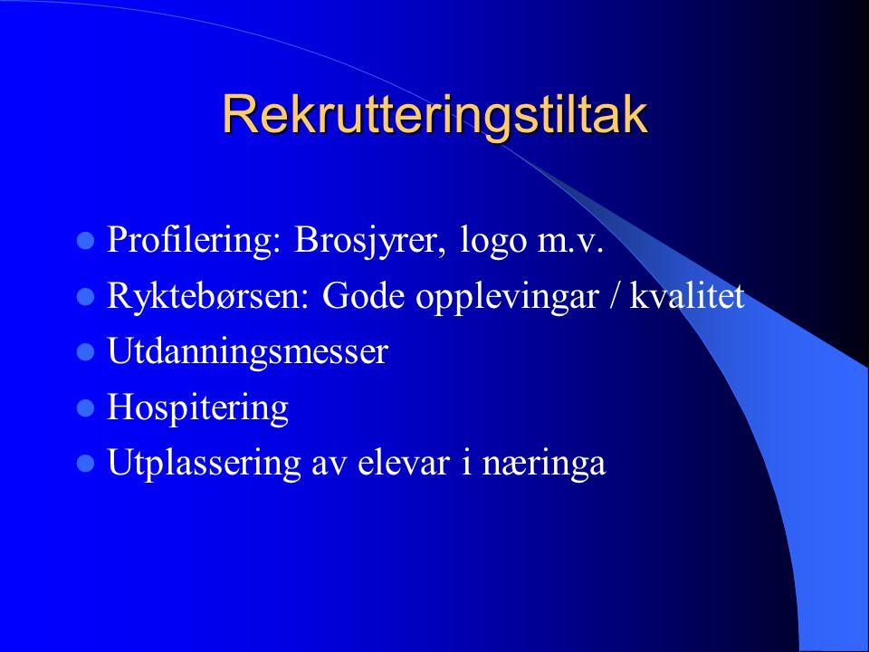 Rekrutteringstiltak  Profilering: Brosjyrer, logo m.v.  Ryktebørsen: Gode opplevingar / kvalitet  Utdanningsmesser  Hospitering  Utplassering av