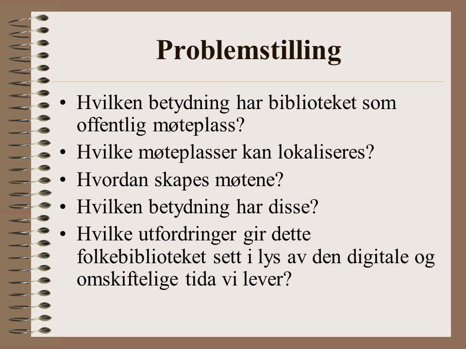 Problemstilling •Hvilken betydning har biblioteket som offentlig møteplass.