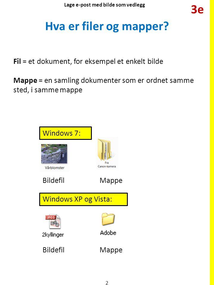 Hva er filer og mapper? Fil = et dokument, for eksempel et enkelt bilde Mappe = en samling dokumenter som er ordnet samme sted, i samme mappe Windows