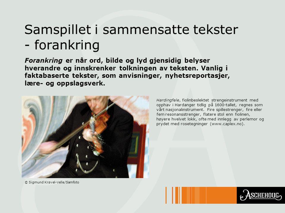 Samspillet i sammensatte tekster - forankring Hardingfele, fiolinbeslektet strengeinstrument med opphav i Hardanger tidlig på 1600-tallet, regnes som
