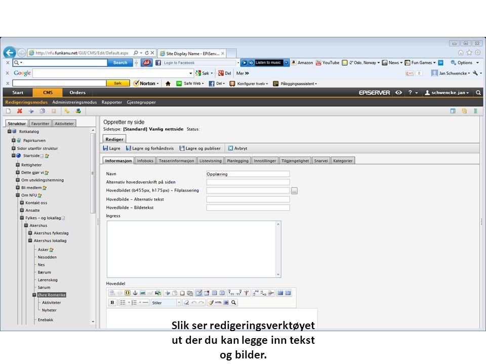 Slik ser redigeringsverktøyet ut der du kan legge inn tekst og bilder.