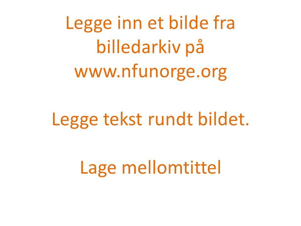 Legge inn et bilde fra billedarkiv på www.nfunorge.org Legge tekst rundt bildet. Lage mellomtittel