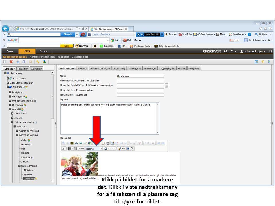 Klikk på bildet for å markere det. Klikk i viste nedtrekksmeny for å få teksten til å plassere seg til høyre for bildet.