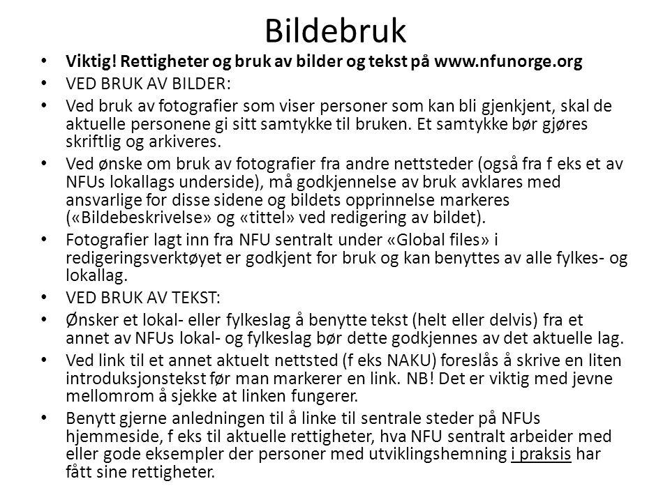 Bildebruk • Viktig! Rettigheter og bruk av bilder og tekst på www.nfunorge.org • VED BRUK AV BILDER: • Ved bruk av fotografier som viser personer som
