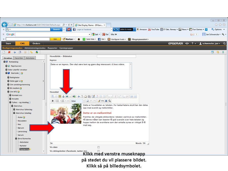 Klikk med venstre museknapp på stedet du vil plassere bildet. Klikk så på billedsymbolet.