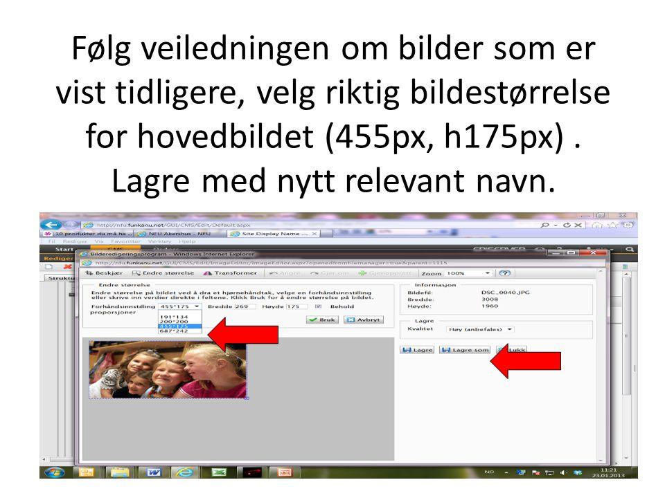 Følg veiledningen om bilder som er vist tidligere, velg riktig bildestørrelse for hovedbildet (455px, h175px). Lagre med nytt relevant navn.