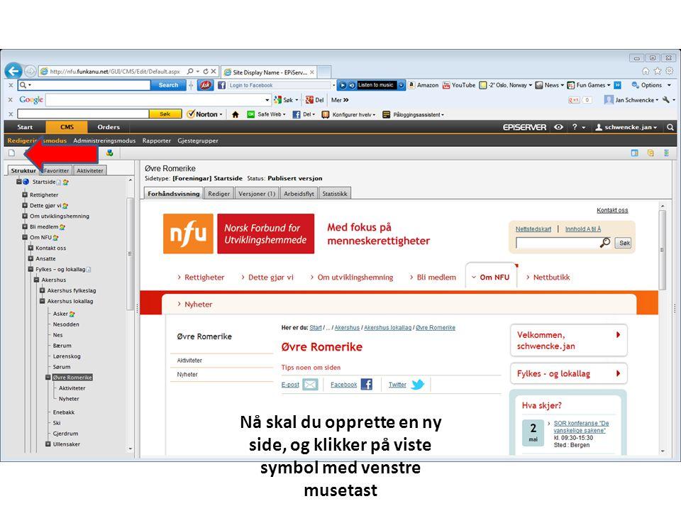 Velg type side (her valgt Vanlig nettside ) og klikk på Opprett med venstre musetast.