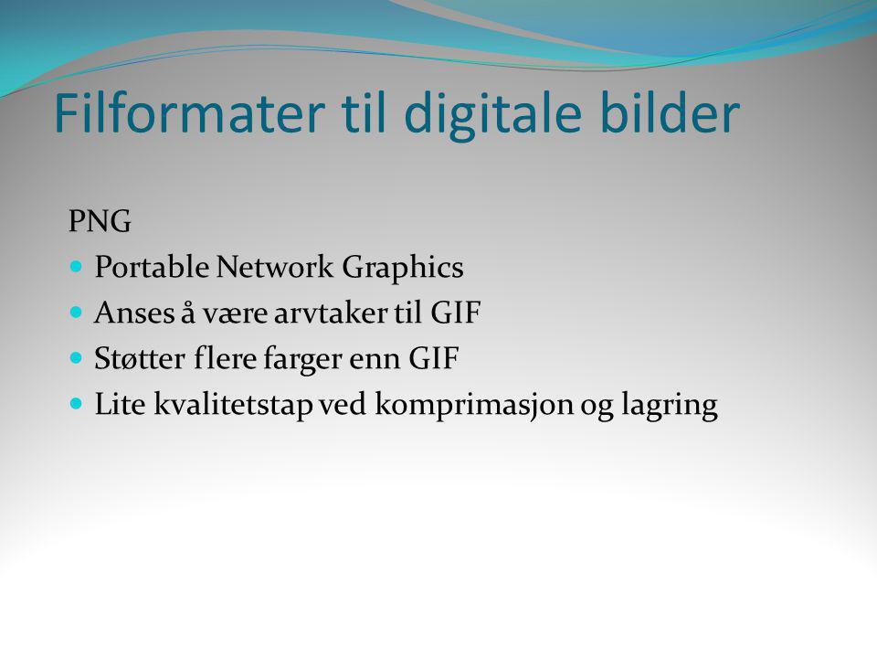 Filformater til digitale bilder PNG  Portable Network Graphics  Anses å være arvtaker til GIF  Støtter flere farger enn GIF  Lite kvalitetstap ved