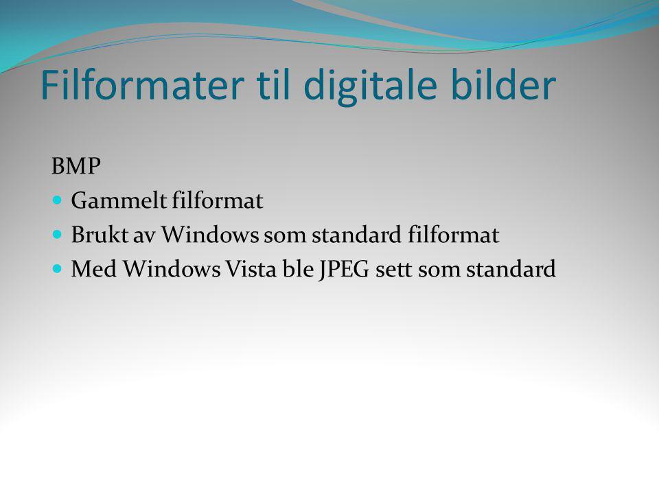 Filformater til digitale bilder BMP  Gammelt filformat  Brukt av Windows som standard filformat  Med Windows Vista ble JPEG sett som standard