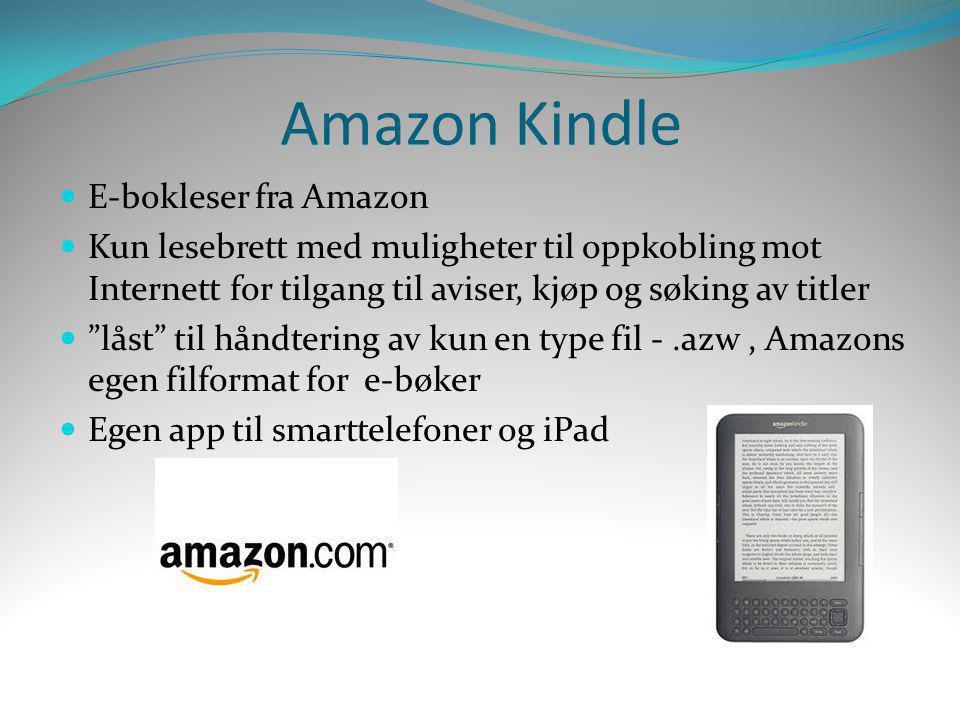 """Amazon Kindle  E-bokleser fra Amazon  Kun lesebrett med muligheter til oppkobling mot Internett for tilgang til aviser, kjøp og søking av titler  """""""