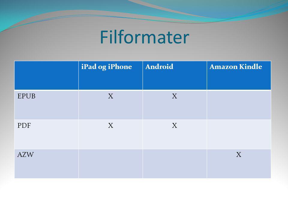 iPad og iPhoneAndroidAmazon Kindle EPUBXX PDFXX AZWX Filformater