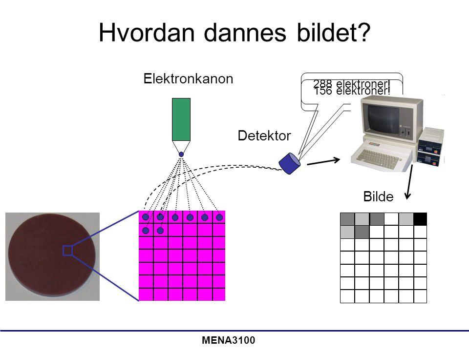 MENA3100 Hvordan dannes bildet? 156 elektroner! Bilde Detektor Elektronkanon 288 elektroner!