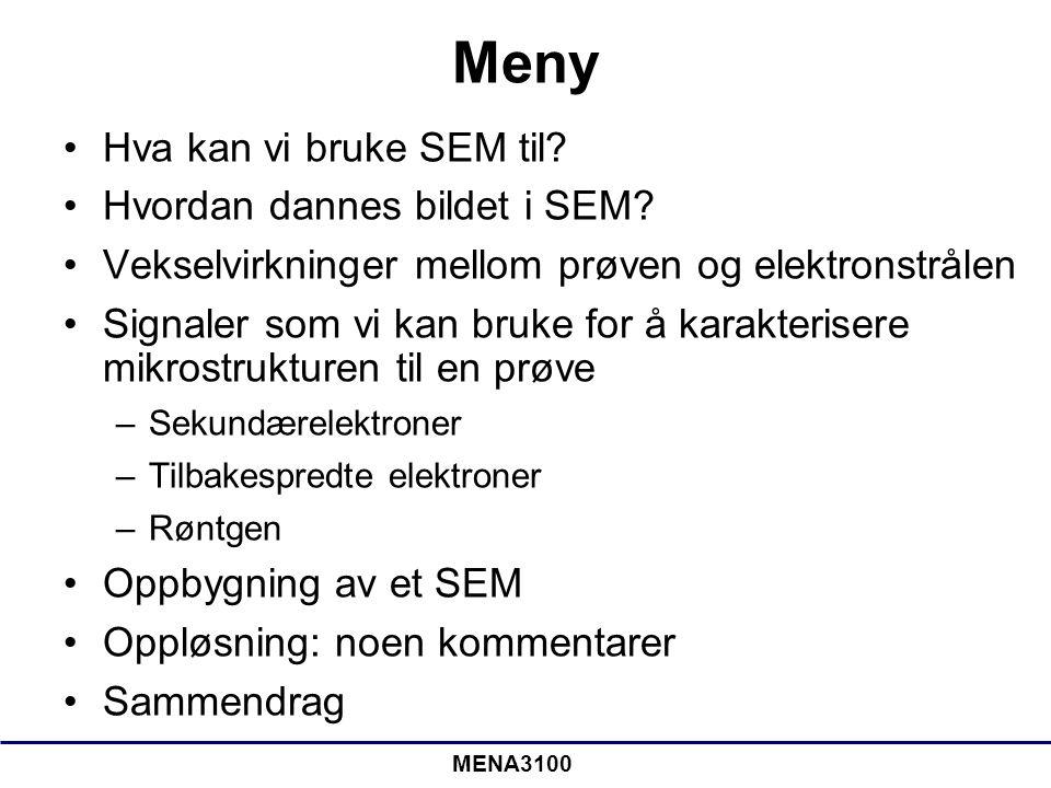 MENA3100 Meny •Hva kan vi bruke SEM til? •Hvordan dannes bildet i SEM? •Vekselvirkninger mellom prøven og elektronstrålen •Signaler som vi kan bruke f