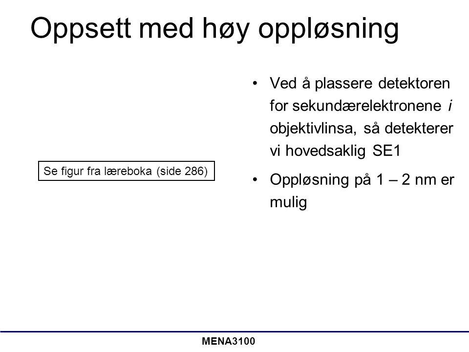 MENA3100 Oppsett med høy oppløsning •Ved å plassere detektoren for sekundærelektronene i objektivlinsa, så detekterer vi hovedsaklig SE1 •Oppløsning på 1 – 2 nm er mulig Se figur fra læreboka (side 286)