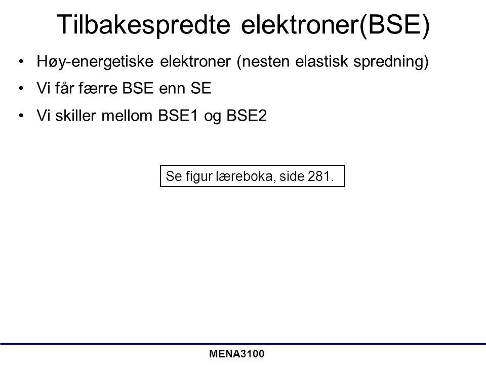 MENA3100 Tilbakespredte elektroner(BSE) •Høy-energetiske elektroner (nesten elastisk spredning) •Vi får færre BSE enn SE •Vi skiller mellom BSE1 og BSE2 Se figur læreboka, side 281.