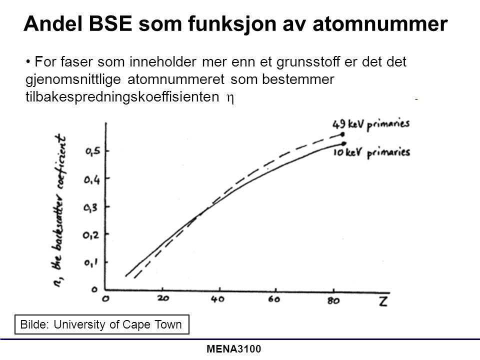 MENA3100 Andel BSE som funksjon av atomnummer Bilde: University of Cape Town • For faser som inneholder mer enn et grunsstoff er det det gjenomsnittli