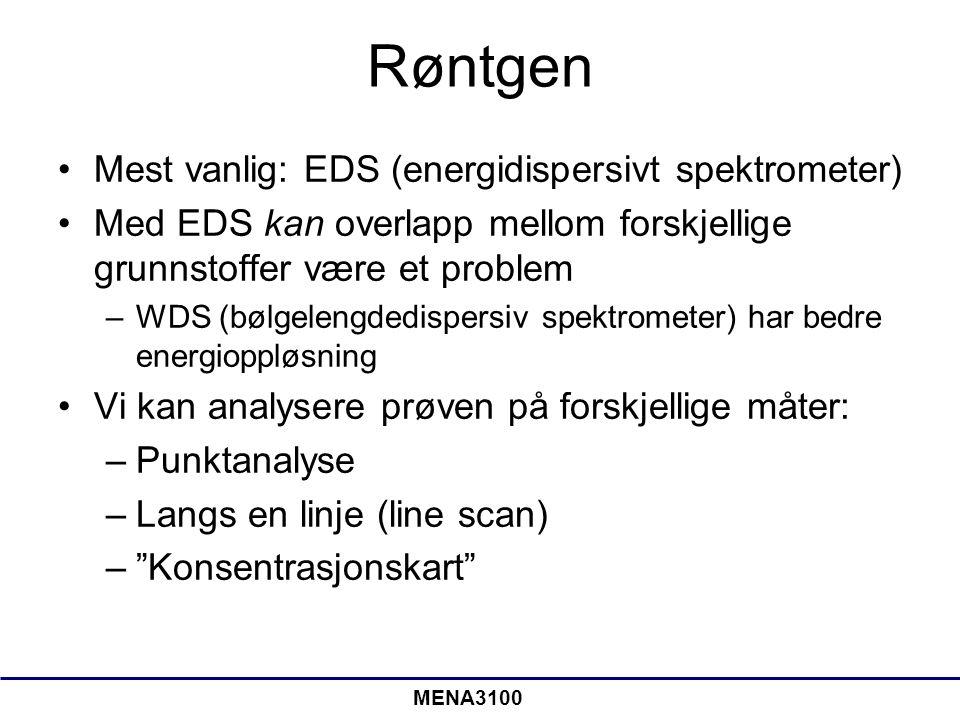 Røntgen •Mest vanlig: EDS (energidispersivt spektrometer) •Med EDS kan overlapp mellom forskjellige grunnstoffer være et problem –WDS (bølgelengdedisp