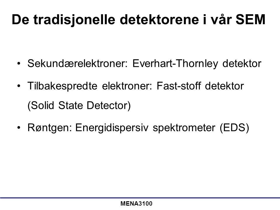 MENA3100 De tradisjonelle detektorene i vår SEM •Sekundærelektroner: Everhart-Thornley detektor •Tilbakespredte elektroner: Fast-stoff detektor (Solid State Detector) •Røntgen: Energidispersiv spektrometer (EDS)