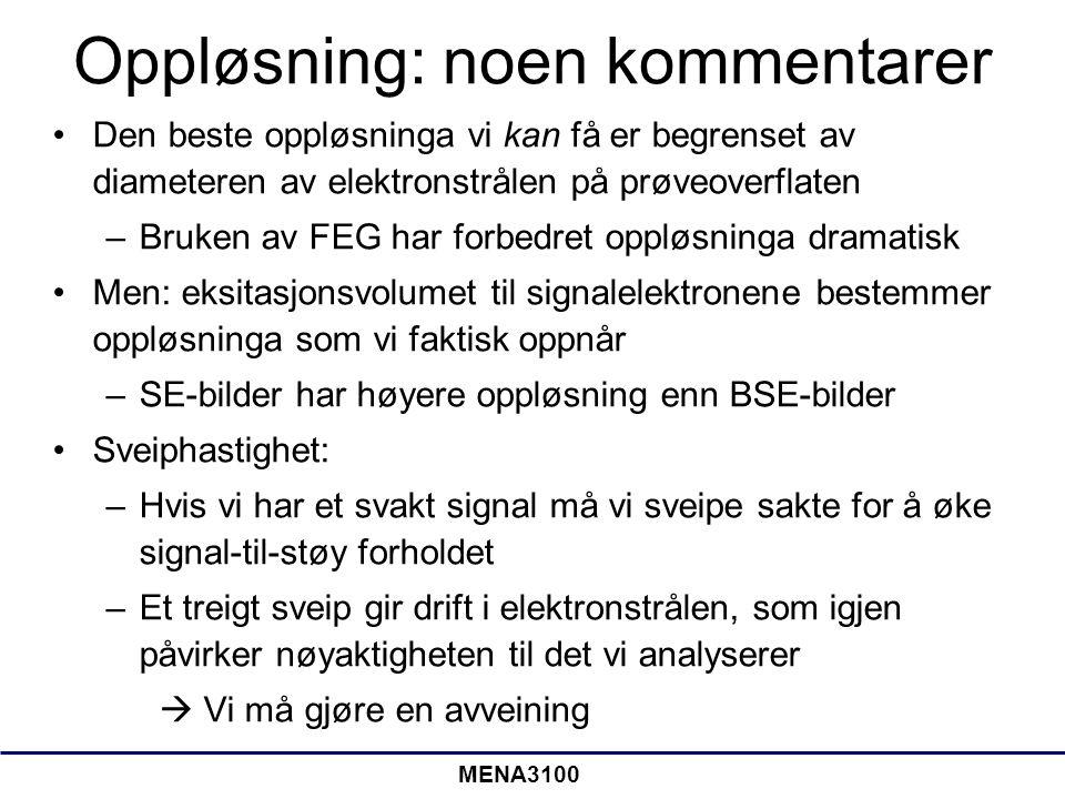MENA3100 Oppløsning: noen kommentarer •Den beste oppløsninga vi kan få er begrenset av diameteren av elektronstrålen på prøveoverflaten –Bruken av FEG har forbedret oppløsninga dramatisk •Men: eksitasjonsvolumet til signalelektronene bestemmer oppløsninga som vi faktisk oppnår –SE-bilder har høyere oppløsning enn BSE-bilder •Sveiphastighet: –Hvis vi har et svakt signal må vi sveipe sakte for å øke signal-til-støy forholdet –Et treigt sveip gir drift i elektronstrålen, som igjen påvirker nøyaktigheten til det vi analyserer  Vi må gjøre en avveining