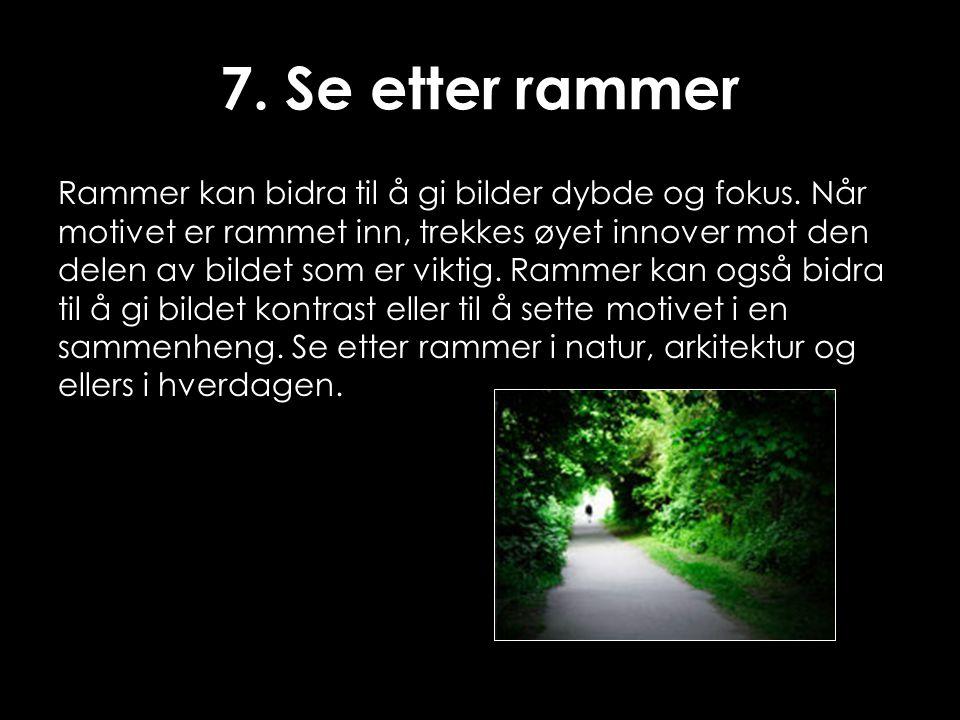 7. Se etter rammer Rammer kan bidra til å gi bilder dybde og fokus. Når motivet er rammet inn, trekkes øyet innover mot den delen av bildet som er vik