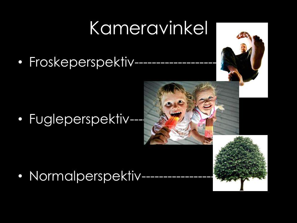 Kameravinkel • Froskeperspektiv------------------- • Fugleperspektiv---- • Normalperspektiv-----------------