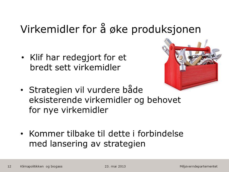 Miljøverndepartementet Norsk mal: Tekst med kulepunkter HUSK: krediter fotograf om det brukes bilde Virkemidler for å øke produksjonen • Strategien vi