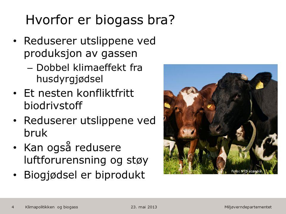 Miljøverndepartementet Norsk mal: Tekst med kulepunkter HUSK: krediter fotograf om det brukes bilde Hvorfor er biogass bra? • Reduserer utslippene ved