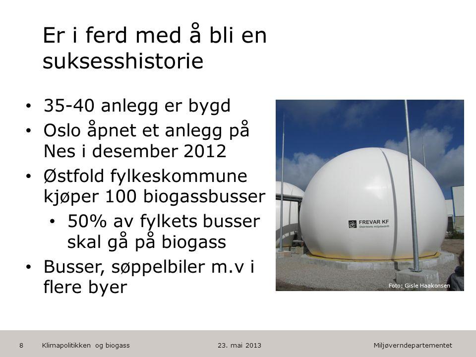 Miljøverndepartementet Norsk mal: Tekst med kulepunkter HUSK: krediter fotograf om det brukes bilde Biogasstrategi – videre prosess • Utarbeides på interdepartementalt embetsnivå - MD holder i prosessen • Ønsker rask fremdrift med strategien.