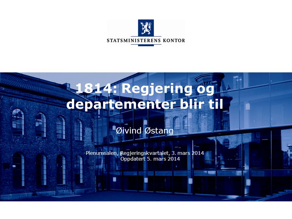 Statsministerens kontor Norsk mal: To innholdsdeler - Sammenlikning Tips farger: SMKs fargepalett er lagt inn i malen og vil brukes automatisk i diagrammer og grafer Regjeringskontorer 30.