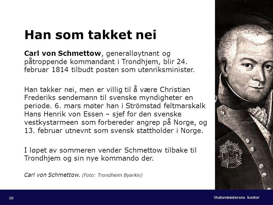 Statsministerens kontor Norsk mal: Tekst med kulepunkter - 1 vertikalt bilde Tips bilde: For best oppløsning anbefales jpg og png- format. Han som tak