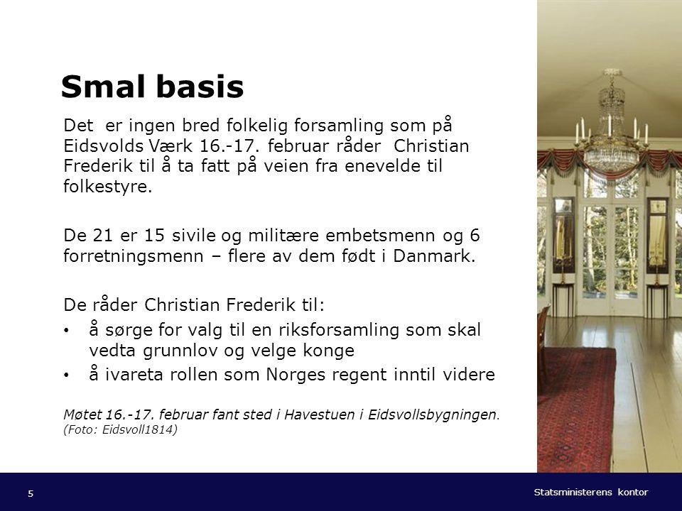 Statsministerens kontor Norsk mal: To innholdsdeler - Sammenlikning Tips farger: SMKs fargepalett er lagt inn i malen og vil brukes automatisk i diagrammer og grafer 26 TIL LYKKE MED DAGEN.