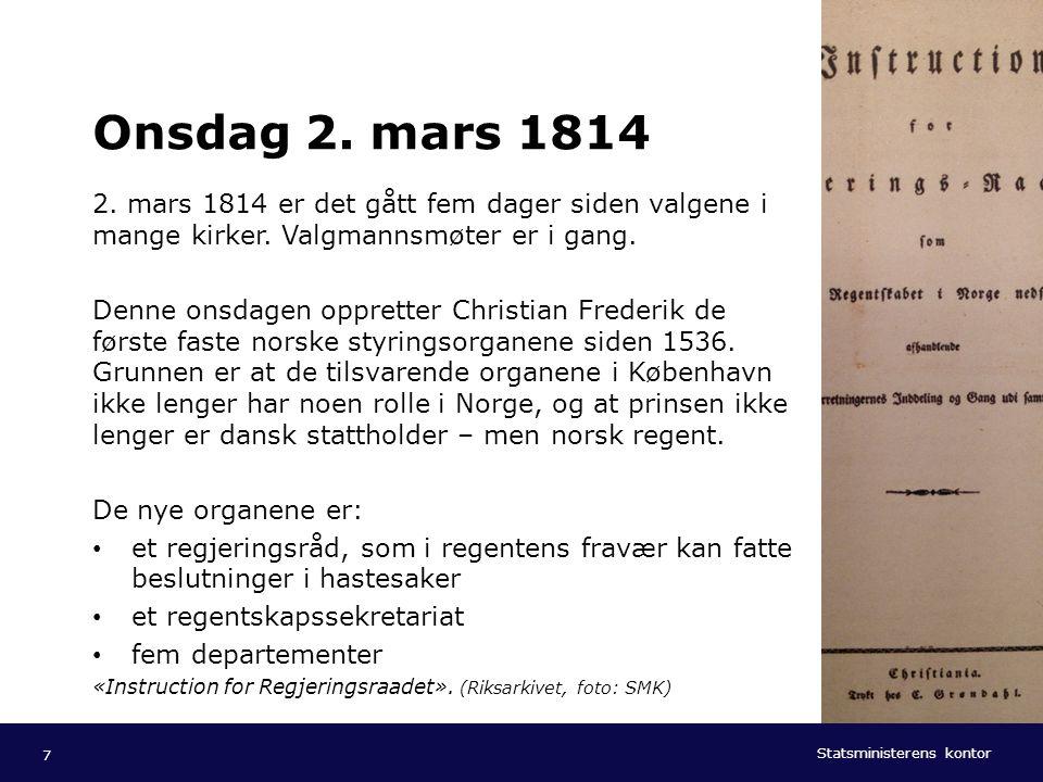 Statsministerens kontor Norsk mal: Tekst med kulepunkter - 1 vertikalt bilde Tips bilde: For best oppløsning anbefales jpg og png- format. Onsdag 2. m