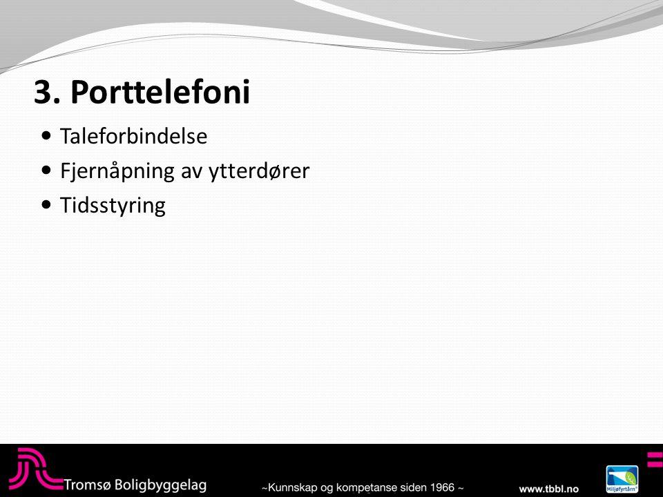 3. Porttelefoni  Taleforbindelse  Fjernåpning av ytterdører  Tidsstyring
