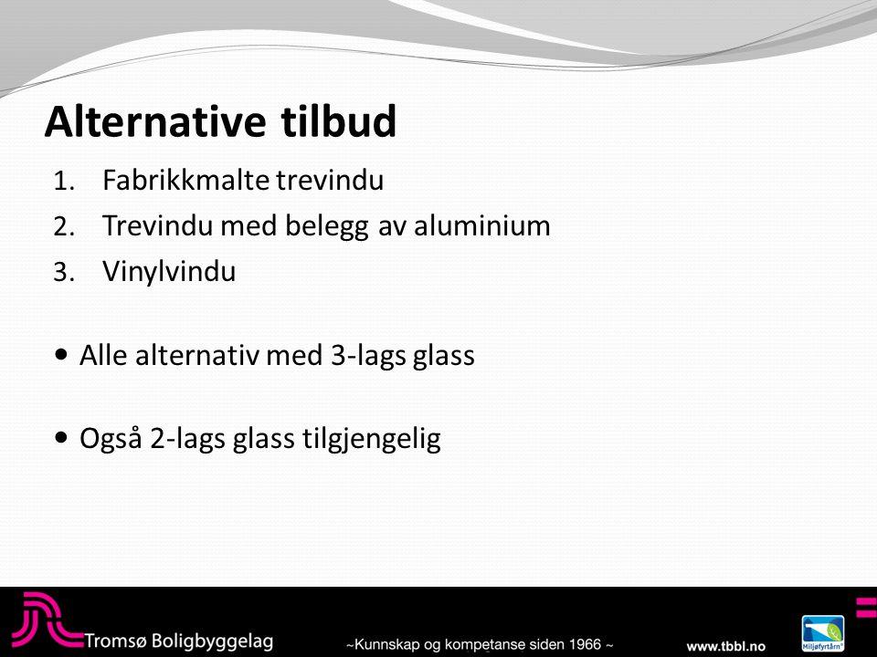 Alternative tilbud 1. Fabrikkmalte trevindu 2. Trevindu med belegg av aluminium 3.