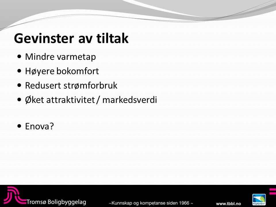 Gevinster av tiltak  Mindre varmetap  Høyere bokomfort  Redusert strømforbruk  Øket attraktivitet / markedsverdi  Enova