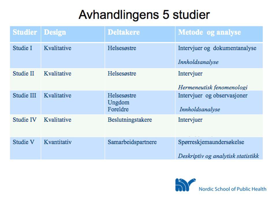 Avhandlingens 5 studier • Perspektiver: • Helsesøstre • Beslutningstakere • Foreldre • Ungdom • Samarbeidspartnere Kragerø april 2012