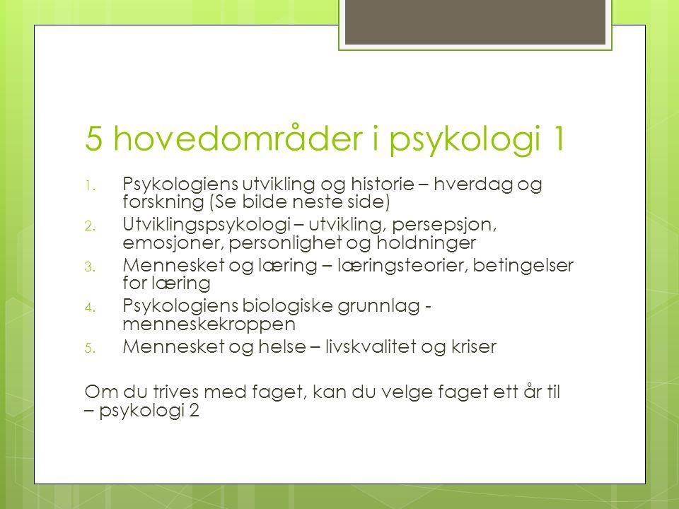 5 hovedområder i psykologi 1 1. Psykologiens utvikling og historie – hverdag og forskning (Se bilde neste side) 2. Utviklingspsykologi – utvikling, pe
