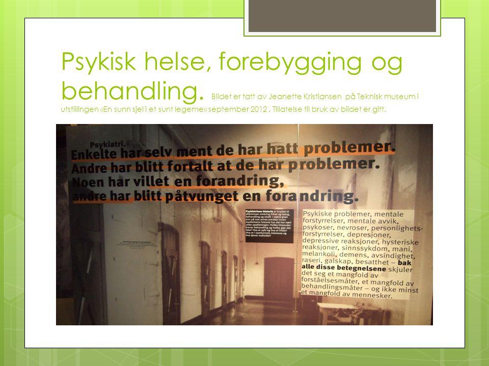 Psykisk helse, forebygging og behandling. Bildet er tatt av Jeanette Kristiansen på Teknisk museum i utstillingen «En sunn sjel i et sunt legeme» sept