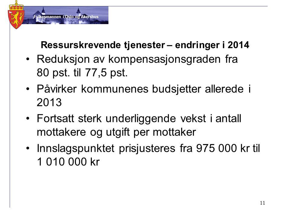 Fylkesmannen i Oslo og Akershus Ressurskrevende tjenester – endringer i 2014 •Reduksjon av kompensasjonsgraden fra 80 pst.