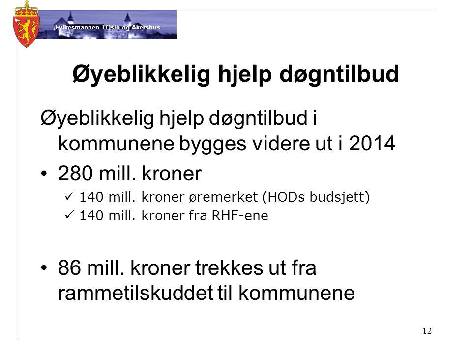Fylkesmannen i Oslo og Akershus Øyeblikkelig hjelp døgntilbud Øyeblikkelig hjelp døgntilbud i kommunene bygges videre ut i 2014 •280 mill.
