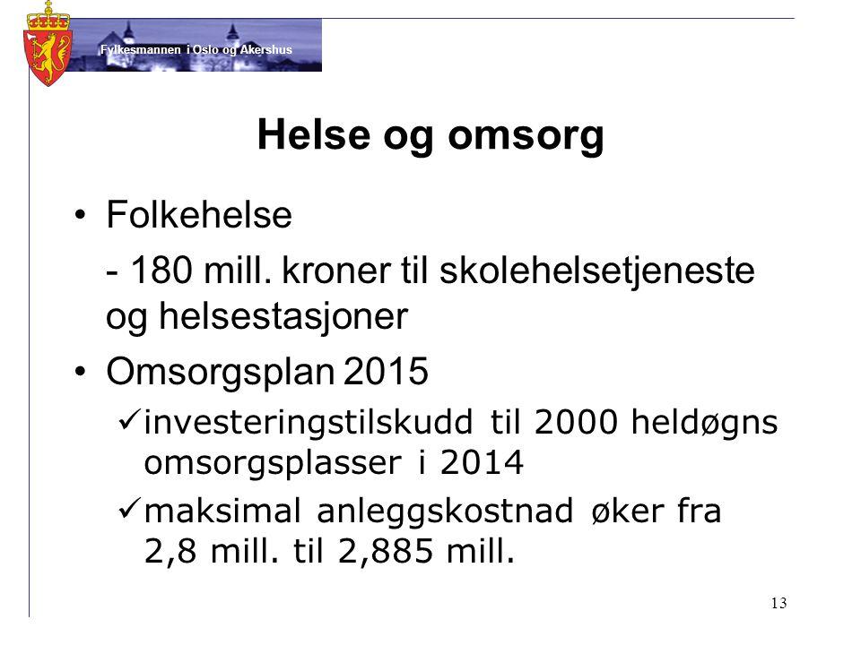 Fylkesmannen i Oslo og Akershus Helse og omsorg •Folkehelse - 180 mill.