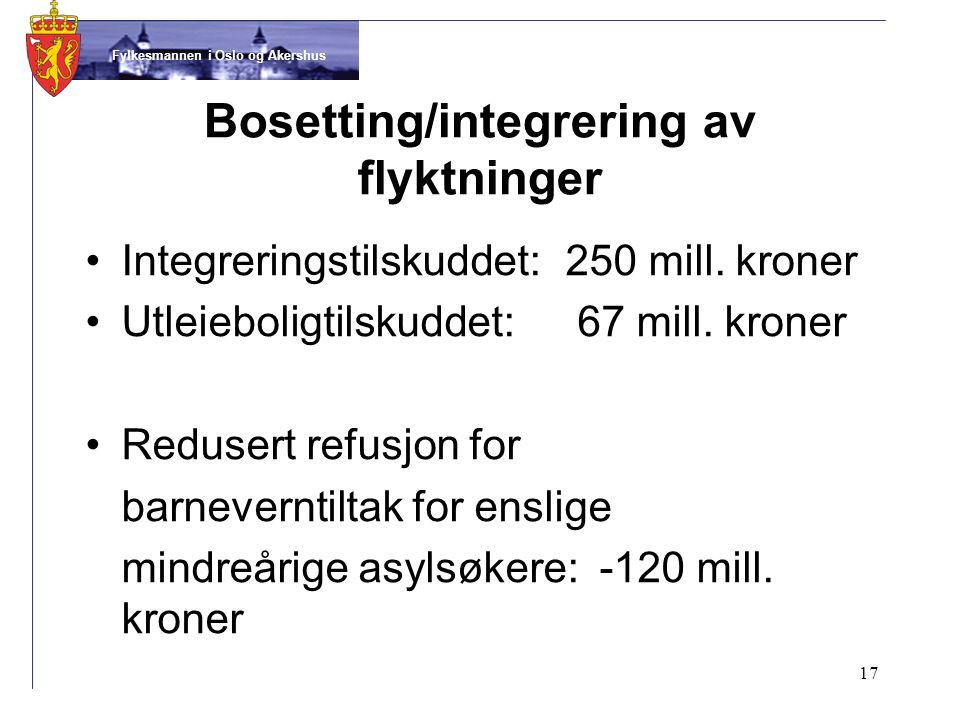 Fylkesmannen i Oslo og Akershus Bosetting/integrering av flyktninger •Integreringstilskuddet:250 mill.