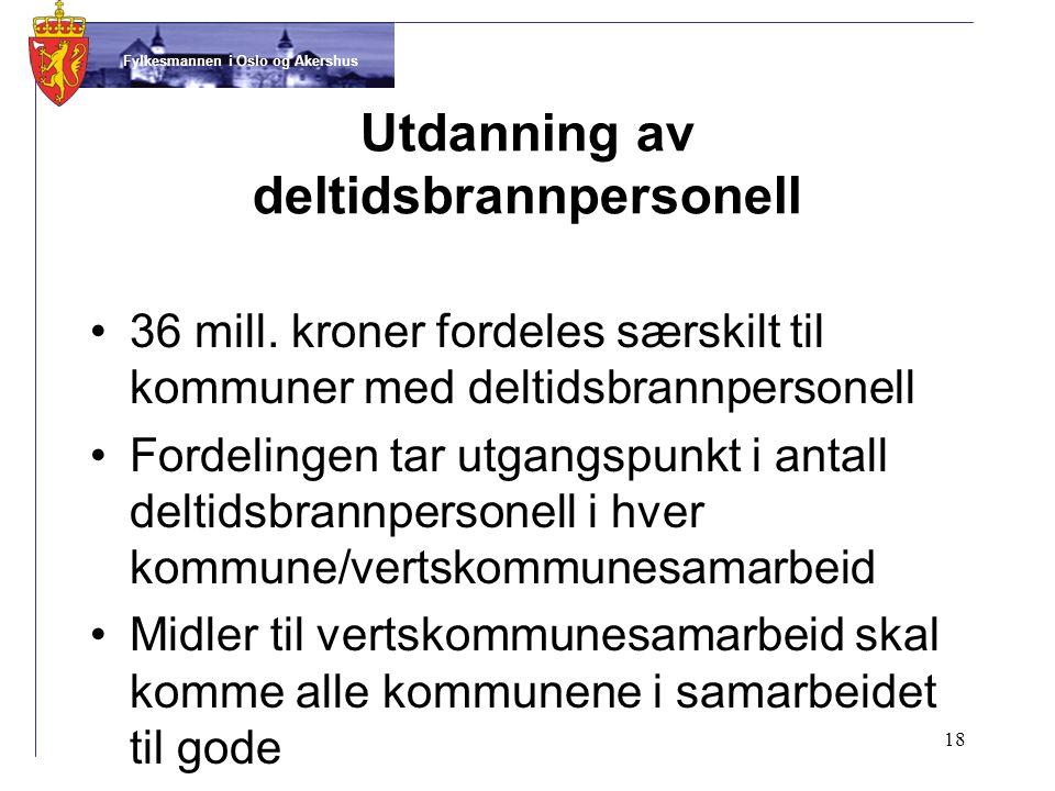 Fylkesmannen i Oslo og Akershus Utdanning av deltidsbrannpersonell •36 mill.